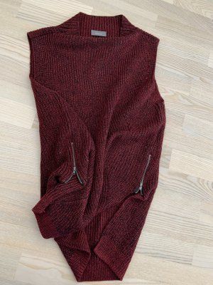Yessica Cardigan long brun rouge-noir