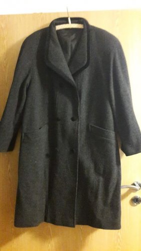 Canda Wełniany płaszcz czarny Wełna z alpaki