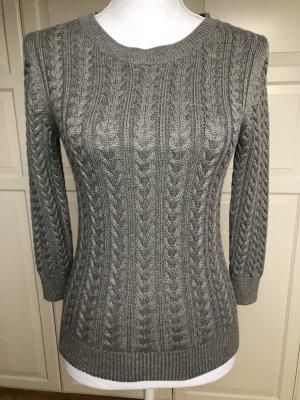 H&M Cable Sweater grey-dark grey