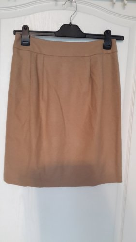 Hallhuber Donna Wool Skirt cognac-coloured-camel wool