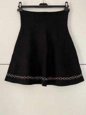 Zara Gebreide rok zwart-goud