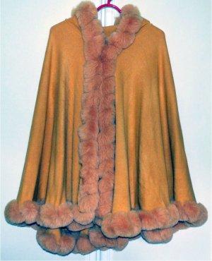 Manteau à capuche orange doré-orange clair laine