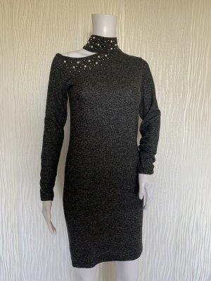 Schickes Graues Pullover-Kleid mit Perlen Gr. S/M