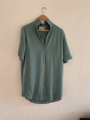 Another Label Robe chemise bleu azur-gris vert viscose