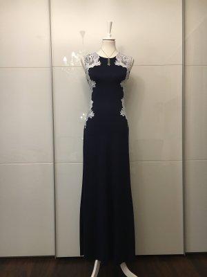 Vestido largo blanco-azul oscuro