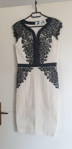 schickes Kleid / Abendkleid / Bleistiftkleid / Pencilkleid mit schwarzdr Spitze, Gr. 36