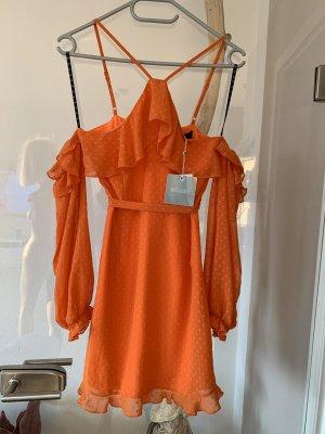 Schickes schulterfreies Kleid mit Bindegürtel .. Boho .. Gr. S 36 # Missguided # Neu mit Etikett ..
