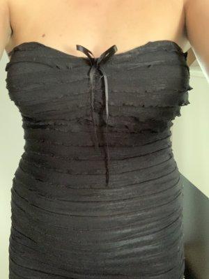 Top z dekoltem typu bandeau czarny