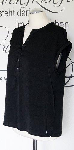 Schickes, schwarzes Blusenshirt im Materialmix - In sehr gutem Zustand!