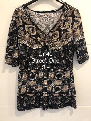 Street One Camiseta negro-marrón