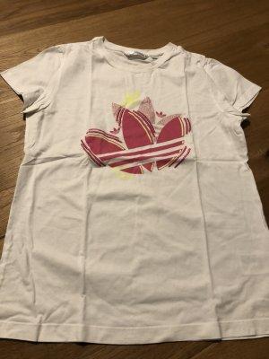 Adidas T-shirt de sport blanc-rouge framboise
