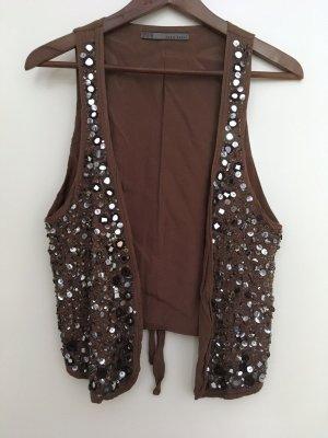 Zara Basic Veste à franges argenté-marron clair