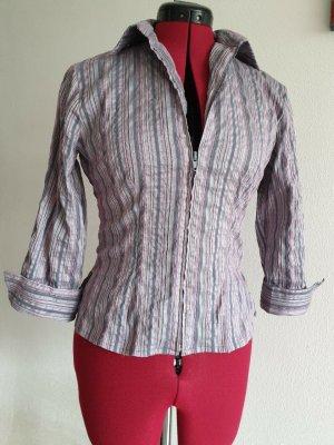 schimmende rosa-grau-gestreifte Reißverschluss-Bluse