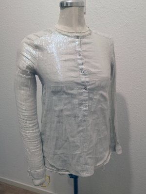 Zara Woman Blouse brillante blanc-argenté
