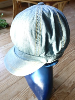 Visor Cap steel blue cotton