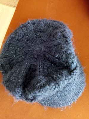 Visor Cap dark blue-silver-colored wool
