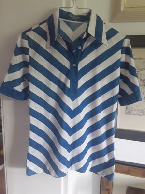 van Laack Koszulka typu batik w kolorze białej wełny-stalowy niebieski