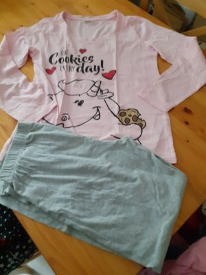 Pyjama gris clair-rose clair