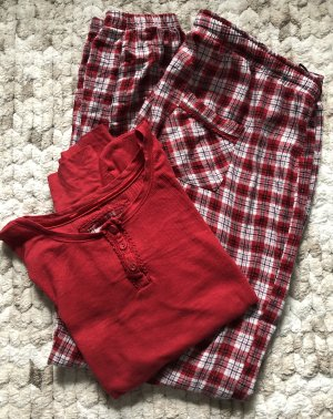H&M Pyjama black-dark red cotton