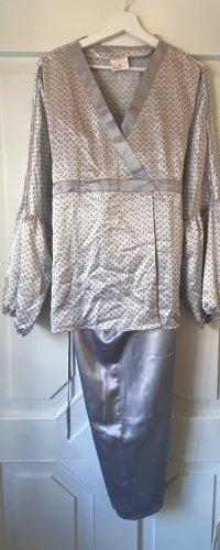 Schlafanzug Satin Grau Schwarz Weiß Edel Lingerie Pyjama