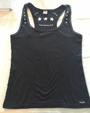 Muscleshirt zwart-zilver Katoen
