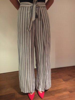 Pantalone a zampa d'elefante bianco-grigio
