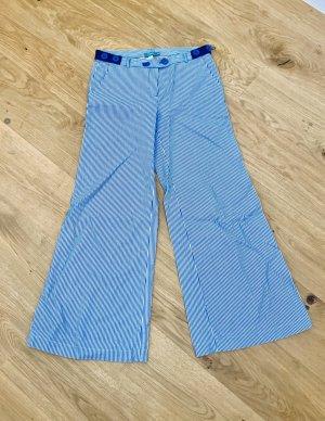 Hoss Intropia Broek met wijd uitlopende pijpen korenblauw-wit Katoen