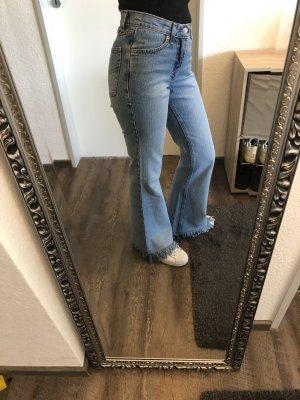 Schlaghose vintage Jeans mit Fransen