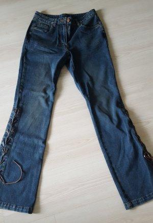 Jeansowe spodnie dzwony stalowy niebieski-jasnobrązowy