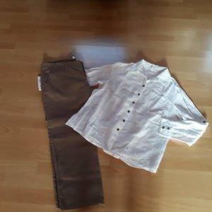 Chares vögele 7/8 Length Trousers light brown-white cotton