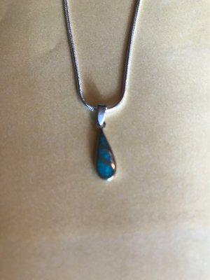 925er Silber Chaîne en argent argenté-turquoise