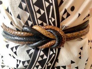 Waist Belt bronze-colored-dark blue leather
