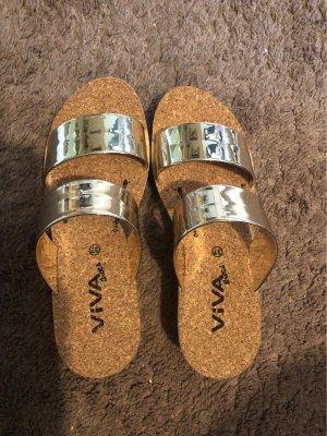 Viva Shoes Sandalias con plataforma beige-color oro