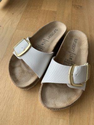 Sandalias cómodas blanco-color oro