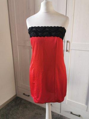 Vestido de tubo negro-rojo