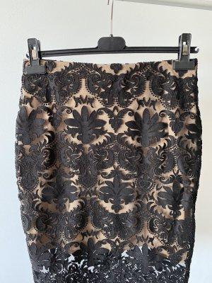 H&M Falda de encaje negro-nude