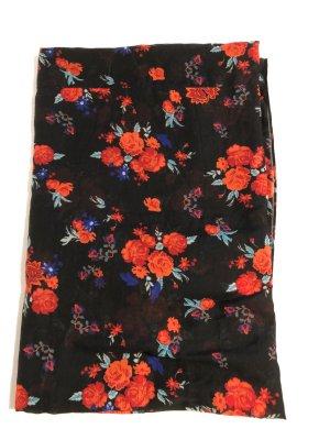 Schlauchschal rote Blumen auf schwarzen Hintergrund