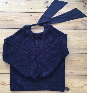 Schleifchen- Audrey Hepburn Style, kuscheliger Grobstrickpulli, Pullover, blau, S