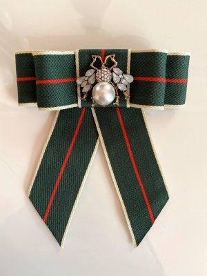 Schleifenbrosche Schleife Brosche Perlen Anstecker dunkelgrün