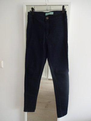 schlichte highwaist Jeans slim dunkelblau