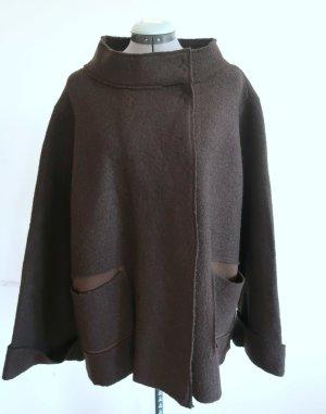 schlichte Jacke von Backstage aus braunem Wollstoff Gr. L (DE 42/44)