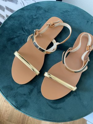 Strapped Sandals cognac-coloured-gold-colored