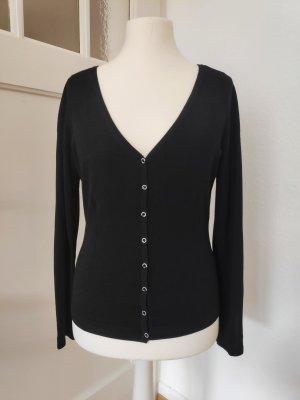 Schlichte schwarze Strickjacke Cardigan Größe M
