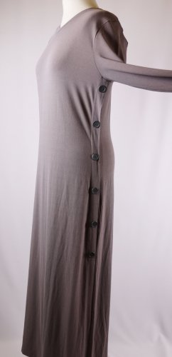 Schlichtes Maxikleid langes Kleid Shirtkleid Bottega Größe L 40 42 Grau Braun Ecru Meliert Knopfleiste Langarm Stretch