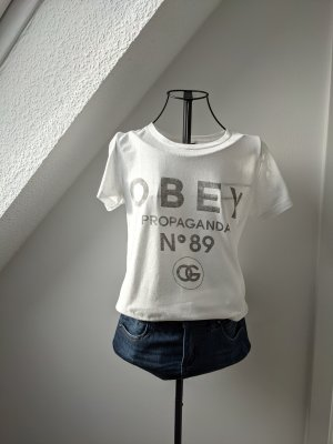 obey T-Shirt white polyester