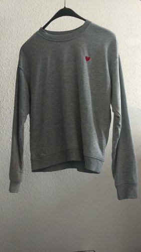 H&M Sweat Shirt silver-colored-red mixture fibre