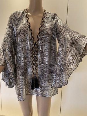 Slip-over blouse zwart-zilver