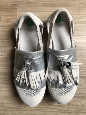 Apepazza Slip-on Shoes light grey-silver-colored leather