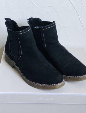 Tamaris Wciągane buty za kostkę czarny Skóra