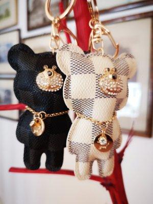 Schlüssel-/Taschenanhänger Bär schwarz-grau oder creme-grau, golden NEU